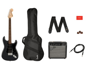 Squier Affinity Stratocaster HSS Electric Guitar Pack Charcoal Frost Metallic