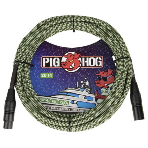Pig hog Jamaican Green Woven - 20ft XLR Cable