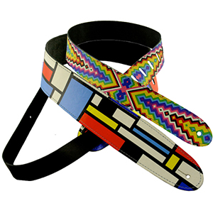 Henry Heller Mondrians Chevrons and Shapes Guitar Strap