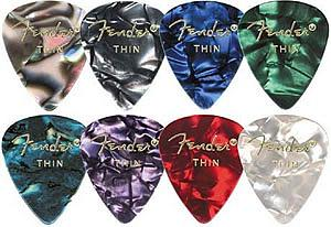Fender 351 Premium Celluloid Picks-Green Moto/Thin (12)