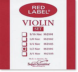 Super Sensitive Red Label 1/2 Violin Strings